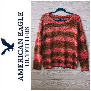 AEO | Gold & Pink Chunky Knit Striped Sweater (XL)